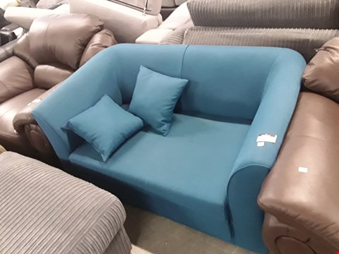 Lot 159 DESIGNER TEAL FABRIC PULL OUT 2 SEATER SOFA BED