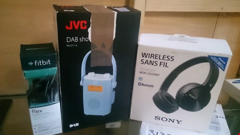 Lot 6 3 ITEMS TO INCLUDE SONY WIRELESS HEADSET, JVC DAB,  FITBIT FLEX