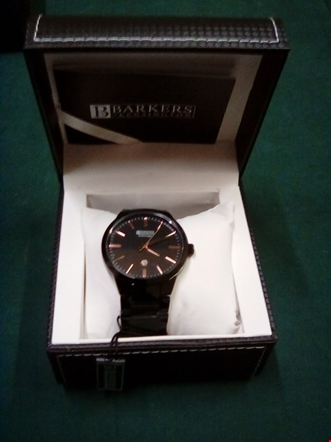 Lot 1079 BRAND NEW BOXED BARKERS OF KENSINGTON ENTOURAGE BLACK/ROSE GOLD GENTS WRIST WATCH WITH FIVE YEAR MANUFACTURERS WARRANTY RRP £385