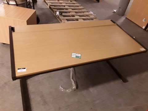 Lot 299 LOT OF 2 METAL FRAMED WOODEN OFFICE DESKS WITH BUILT IN PLUG SOCKETS