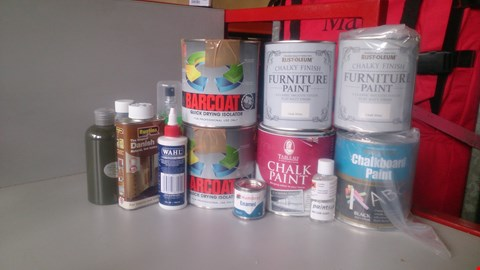 Lot 5612 LOT OF ASSORTED ITEMS TO INCLUDE BARCOAT QUICK DRYING ISOLATOR AND RUST-OLEUM CHALKY FINISH FURNITURE PAINT ETC