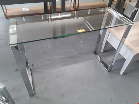 Lot 385 DESIGNER CHROME FRAMED GLASS TOP CONSOLE TABLE