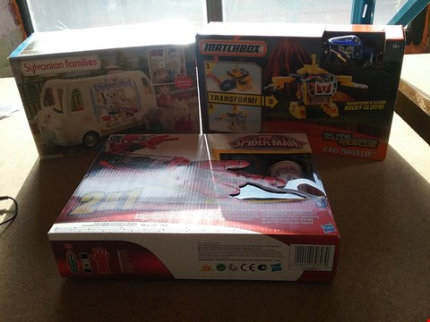 Lot 9052 A SYLVANIAN FAMILIES ICE CREAM VAN, A MARVEL ULTIMATE SPIDER-MAN WEB SHOOTER WITH GLOVE AND A MATCHBOX ELITE RESCUE EXO SHIELD