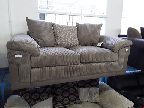 Lot 26 DESIGNER GREY FAUX LEATHER & JUMBO CHORD TWO SEATER SOFA WITH SCATTER CUSHIONS
