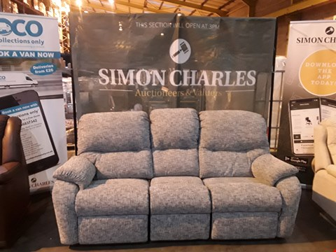 Lot 9004 QUALITY BRITISH MADE HARDWOOD FRAMED GREY FABRIC POWER RECLINING THREE SEATER SOFA (2 POWER PACKS INCLUDED)