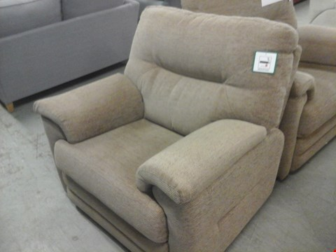 Lot 1 QUALITY BRITISH MADE HARDWOOD FRAMED LIGHT BROWN FABRIC RECLINER CHAIR