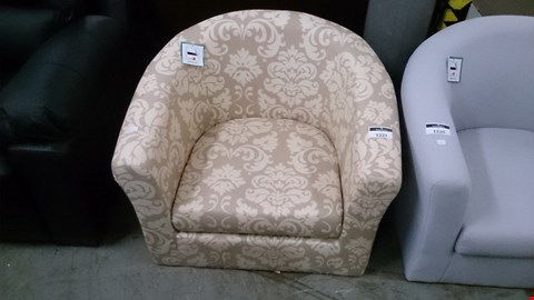 Lot 1221 DESIGNER BEIGE PATTERNED FABRIC TUB CHAIR