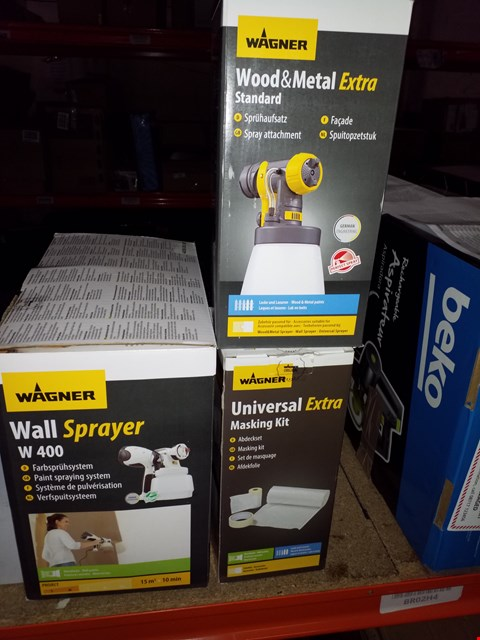 Lot 14116 LOT OF 3 WAGNER ITEMS TO INCLUDE W400 WALL SPRAYER, WOOD & METAL EXTRA SPRAYER AND UNIVERSAL EXTRA MASKING KIT