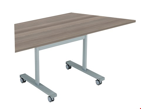 Lot 61 5 BRAND NEW GYRATE TRAPEZOIDAL FLIP TOP 140 MEETING TABLE TOPS ONLY - GREY OAK
