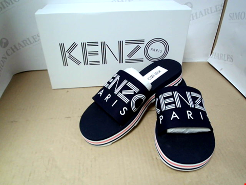Lot 7052 KENZO PAPAYA NAVY FLAT SPORTY MULES - SIZE 40