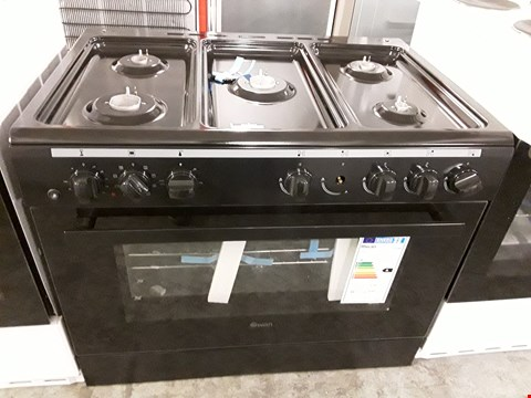 Lot 34 SWAN SX2040B BLACK 90CM DUEL FUEL RANGE COOKER WITH 5 BURNER HOB