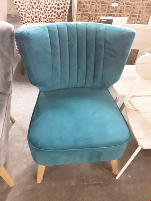Lot 7094 DESIGNER TEAL VELVET COCKTAIL CHAIR