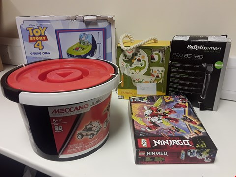 Lot 3379 BOX CONTAINING 5 ASSORTED TOYS, INCLUDING, BABYLISS FOR MEN PRO BEARD SHAVER, LEGO NINJAGQ 71707, MECCANO JUNIOR BUCKET,  TOY STORY 4 GAMING CHAIR, BAMBOO DINNERWARE SET.