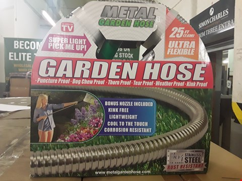 Lot 3171 BOX OF APPROXIMATELY 8 ULTRA FLEXIBLE SUPER STRONG METAL GARDEN HOSE 25FT