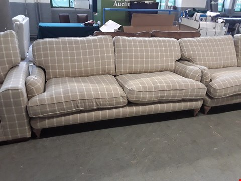 Lot 16 QUALITY BRITISH DESIGNER BEIGE TARTAN FABRIC ROCHESTER 3 SEATER SOFA