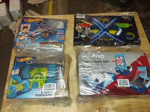 Lot 4484 20 INCH DESKTOP 3 IN 1  GAMES TABLE + 3 ASSORTED TOYS: LAZER GUN, HOTWHEELS RC CAR + DRONE
