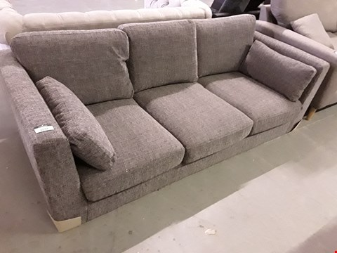 Lot 2038 DESIGNER GREY FABRIC THREE SEATER SOFA WITH BOLSTER CUSHIONS
