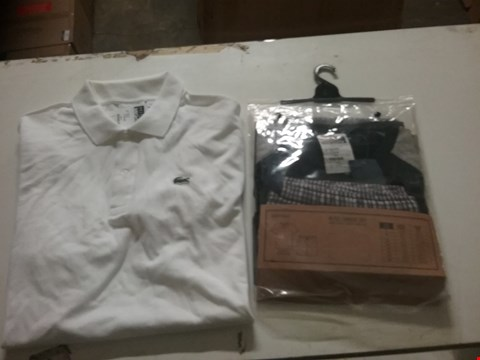 Lot 1334 LOT OF 4 BOXES CONTAINING APPROXIMATLEY 78 ASSORTED CLOTHING ITEMS TO INCLUDE SOUTHBAY MEN'S LOUNGE SET, LACOSTE WHITE POLO T-SHIRT AND SKOPES SUIT JACKET