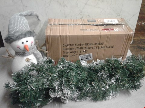 Lot 4094 LOT OF 3 SEASONAL ITEMS TO INCLUDE SNOWMAN PLUSHIE, GARLAND AND MINIATURE VILLAGE
