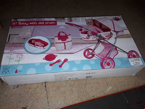 Lot 7877 13 INCH BABY WITH DOLL PRAM