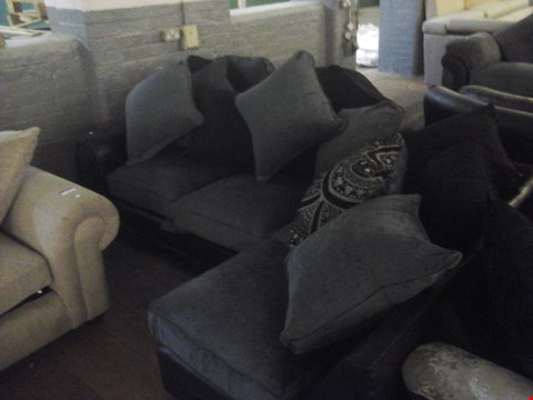 Lot 85 DESIGNER GREY FABRIC CHAISE SOFA WITH CUSHIONS