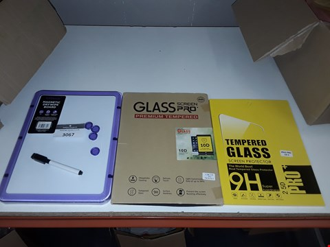 Lot 5016 LOT OF 3 ASSORTED ITEMS TO INCLUDE 2 TEMPERED GLASS TABLET SCREEN PROTECTORS AND MAGNETIC DRY WIPE BOARD