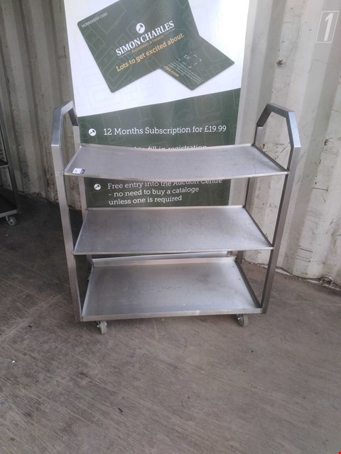 Lot 3001 STAINLESS STEEL 3 TIER MOBILE SHELVING