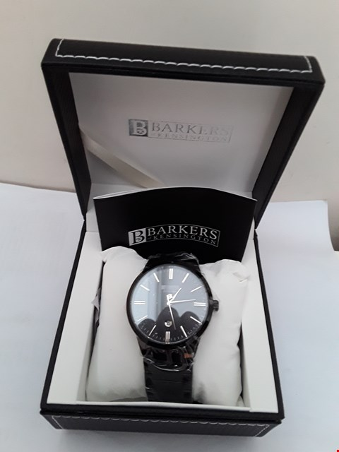Lot 2087 BRAND NEW DESIGNER BARKERS OF KENSINGTON ENTOURAGE BLACK STRAP AND DIAL WATCH
