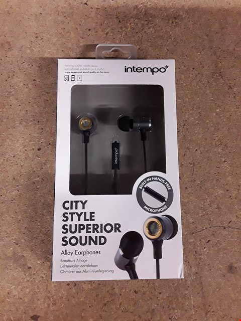 Lot 548 BOX OF APPROXIMATELY 22 INTEMPO CITY STYLE SUPERIOR SOUND ALLOY EARPHONES IN A VARIETY OF DIFFERENT COLOURS