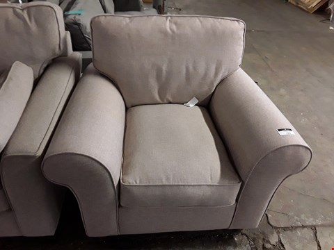 Lot 133 BEIGE FABRIC EASY CHAIR WITH ROLLED ARMS