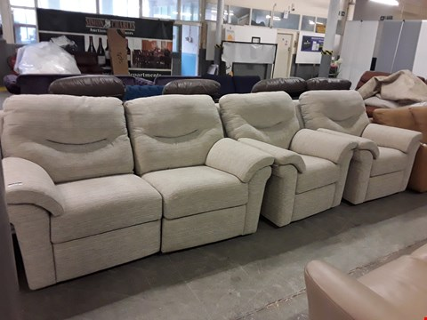 Lot 12508 QUALITY BRITISH MADE, HARDWOOD FRAMED NATURAL FABRIC POWER RECLINING 2 SEATER SOFA AND TWO ARMCHAIRS