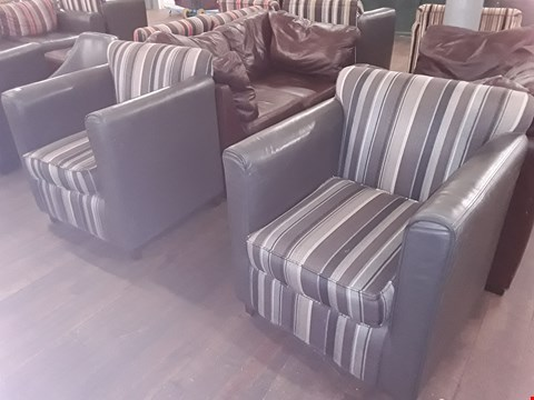Lot 62 2 X STRIPED FABRIC ARMCHAIRS