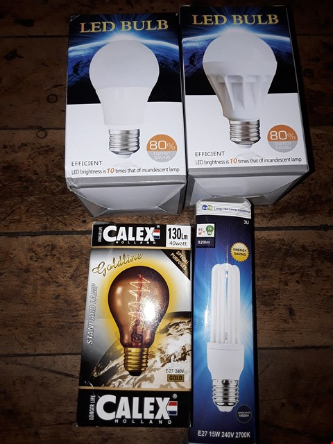 Lot 8121 BOX OF ASSORTED LIGHTING ITEMS TO INCLUDE E27 15W COMPACT FLUORESCENT LAMP, CALEX GOLDLINE STANDARD LAMP, LED BULBS