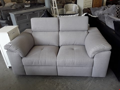 Lot 102 DESIGNER GREY FABRIC MANUAL RECLINING 2 SEATER SOFA WITH ADJUSTABLE HEADRESTS