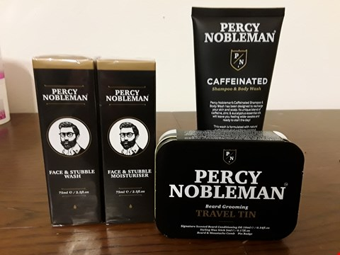 Lot 8001 LOT OF 4 PERCY NOBLEMAN BEAUTY ITEMS TO INCLUDE FACE & STUBBLE WASH, BEARD GROOMING TRAVEL TIN AND CAFFEINATED BODY WASH