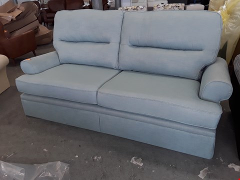 Lot 2066 QUALITY BRITISH DESIGNER BLUE FABRIC THREE SEATER SOFA