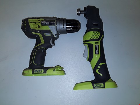 Lot 7159 LOT OF 2 ASSORTED RYOBI ITEMS TO INCLUDE RYOBI RMT1801 ONE+ MULTI TOOL BODY ONLY AND RYOBI R18PDBL ONE+ CORDLESS BRUSHLESS PERCUSSION DRILL BODY ONLY