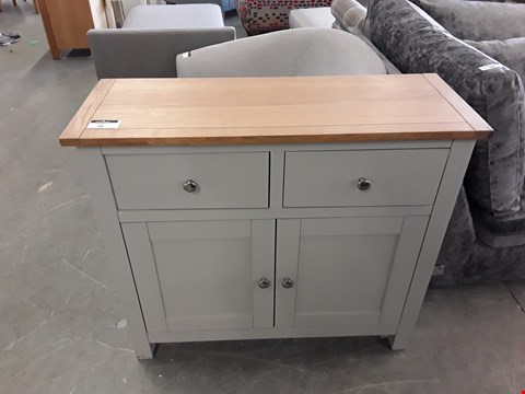 Lot 48 DESIGNER PAINTED WOOD AND OAK EFFECT 2 DRAWER, 2 DOOR COMPACT SIDEBOARD