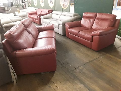 Lot 60 QUALITY ITALIAN DESIGNER ANDRIA RED LEATHER POWER RECLINING THREE SEATER SOFA & FIXED TWO SEATER SOFA WITH DETAILED STITCHING