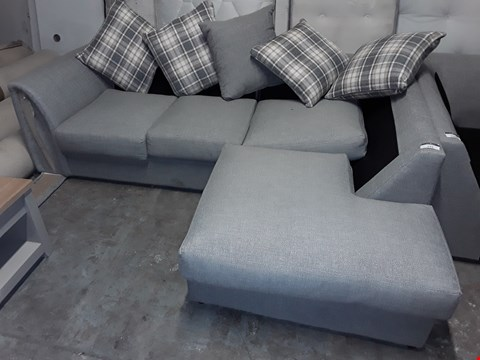 Lot 532 DESIGNER GREY FABRIC CORNER CHAISE SOFA WITH SCATTER CUSHIONS