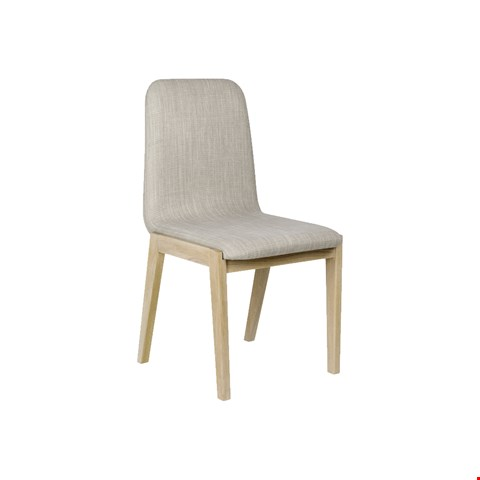 Lot 3035 CONTEMPORARY DESIGNER BOXED JENSON BLONDE OAK PAIR OF DINING CHAIRS WITH LINEN COLOURED FABRIC  RRP £196.00