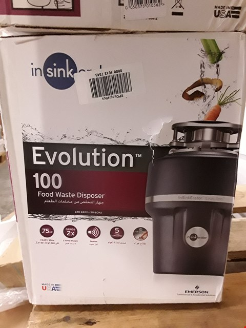 Lot 4 INSINKERATOR EVOLUTION 100 FOOD WASTE DISPOSER RRP £242