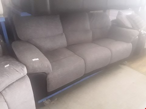 Lot 50 DESIGNER BROWN FAUX LEATHER & GREY FABRIC MANUAL RECLINING THREE SEATER SOFA