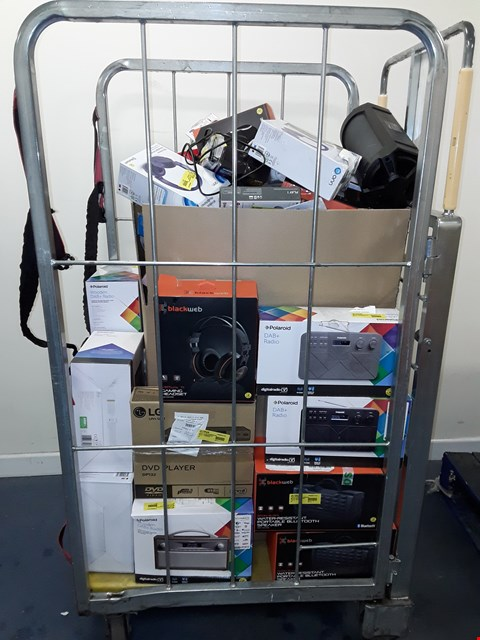 Lot 7107 CAGE OF A SIGNIFICANT QUANTITY OF ASSORTED ELECTRONIC ITEMS TO INCLUDE BLACKWEB GAMING HEADSET, LG DP132 DVD PLAYER, BLACKWEB BLUETOOTH SPEAKER ETC