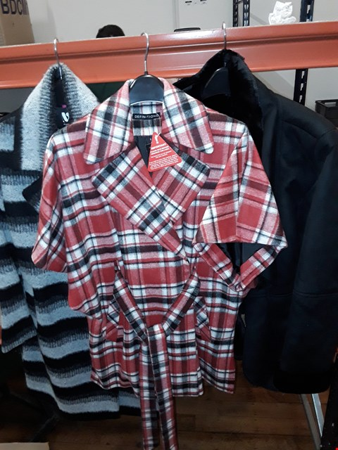 Lot 10 A BOX OF APPROXIMATELY 10 ASSORTED CLOTHING ITEMS TO INCLUDE , LADIES FAUX FUR COAT SIZE 18 , LADIES GREY/BLACK JUMPER AND LADIES RED CHECK JACKET ETC