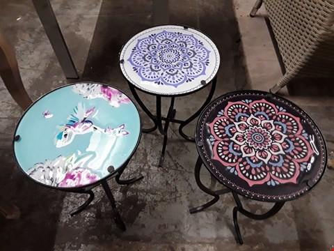 Lot 7055 DESIGNER SET OF THREE SMALL TABLES