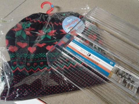 Lot 240 LOT OF APPROXIMATELY 8 ASSORTED ITEMS TO INCLUDE CABINET ORGANISER, A FESTIVE CLOTHING FOR PETS ETC