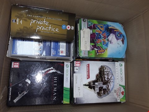 Lot 12057 APPROXIMATELY 30 DVDS BOX SETS AND DVDS & X BOX ONE ,360 GAMES TO INCLUDE  ,HIT MAN ,GEARS OF WAR ,THE HOBBIT,  FAMILY GUY,  BAD BOYS  ,ALIEN & MORE