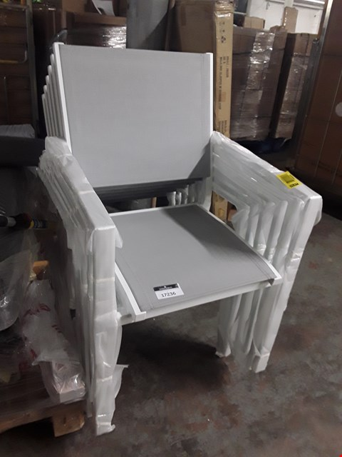 Lot 17236 SET OF SIX GREY GARDEN CHAIRS WITH WHITE METAL FRAMES