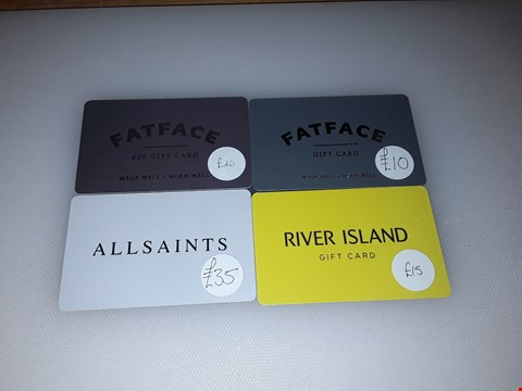 Lot 9 8 ASSORTED GIFT CARDS, INCLUDING ALL SAINTS, FAT FACE, RIVER ISLAND, BLUE DIAMOND AND SEASALT CORNWALL.  TOTAL VALUE £130